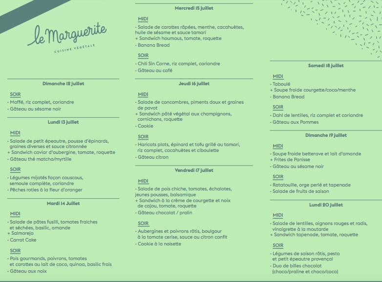 menu marguerite